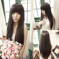 2014Wig Long straight hair Qi Liu Long hair Repair face Short hair Fat Girls