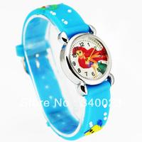 Free shipping 1pc Blue Cute Mermaid Girls Fashion Casual Cartoon Children's Silicone Watch Chrismas gift Watch, C15-BL