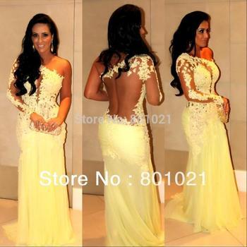 Бесплатная доставка одно плечо видеть сквозь кружева желтый русалка пром вечернее платье свадебные платья Formales 2014