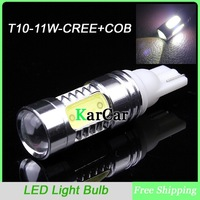 11W T10 CREE R5 + COB Chip LED Clearance Light with Lens, W5W Car Marker Light Wedge Lamp Tail Lights Free Shipping
