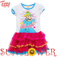 New Arrival 2014 Summer Fashion Princess Dress Short Sleeve Cartoon Snow Beautiful TUTU Dress Free Shipping