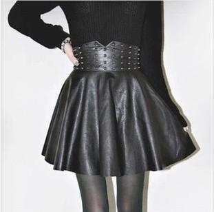 Hot sale 2014 autumn winter New sale Women's Boutique Fashion Punk Rivet PU Leather Skirt(China (Mainland))