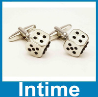 2014 fashion high quality like dice style metal cufflinks free shipping drop shipping