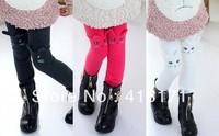 Super Cute Baby Girls Leggings Autumn-Winter Warm Kids Boot-cut Lovely Kitten Design Girls Thicken Legging Pants