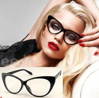 Top Quality New 2014 Fashion Designer Women Cat Eye Clear Lens Glasses Unisex Retro Classic Plain Mirror Lens  Eyewear Oculos