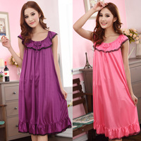 Plus size sleepwear mm viscose sleepwear female sexy lace sleepwear dress short-sleeve sleepwear female