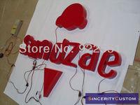 custom-made red acrylic frontlit led sign letters lighting channel letters for Sundaze advertising