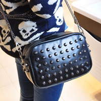 Free shipping 2014 rivet chain small bag vintage candy color messenger bag clutch women's handbag
