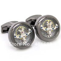 Black Tourbillon Cufflinks with  Black Carbon Fiber 800921  men jewelry