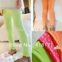 Wholesale Children Leggings Baby Girls Garment Fluorescence Color Kids Dotted Legging Polka Dot Child Pants 5pcs/lot