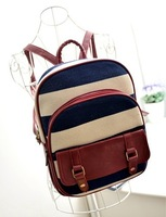 2014 Hot selling preppy style PU bagpack fashion school bagpack lady bag Stripe backpack fresh girl bags free shipping