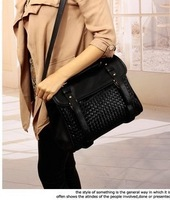 Free shipping 2014 spring all-match knitted bag double buckle portable women's handbag cross-body bag