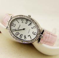 2014 New Luxury Fashion Women lady Dress Vintage Watch Round Crystal Bling Rhinestone Dial Japan Movement Quartz Analog Watch