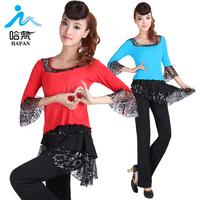2013 square dance clothes lace dance clothes set half sleeve lace top