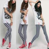 Stripe Print Leggings Womens Pants Fashion Lady  Art Sexy Black White Hot  2014 Promotion Free Shipping