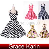 Fast Delivery! Grace Karin Print Cotton Women Evening Vintage Dress CL6076