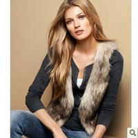 2014 new winter fur small grass outside Short plush leather suit vest waistcoat vest for women