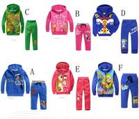 Free shipping+Retail. 2014 new.Children's cartoon suits.100% cotton children suit (hoodie+ pants) Boy's suit. Girls's suit