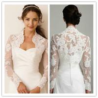 J0029 Elegant Really Photo Custom made Long Sleeve Lace Beading White Bridal Jacket Wedding Bolero 2014
