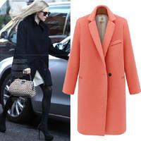 Autumn  winter woman elegant   pink black  thick warm slim long woolen blazer maxi coat oversize coat  wool blends coat S-XL
