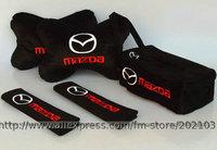 free shipping 1set (1set=5pcs) Mazda shoulder pad car Headrest Tissue cover embroidered belt cover retaining straps sets