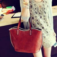 Vintage 2013 oil skin fashion handbag rope fashion bag brief women's bag sewing thread  free shipping