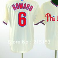 American Philadephia #6 Ryan Howard Jerseys Embroidery logos Baseball Jerseys Howard Mix Order Baseball Jersey Free Shipping