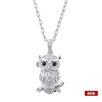 Owl Style USB Flash Drive Necklace (Silver) 4GB 8GB 16GB 32GB 64GB Free Shipping