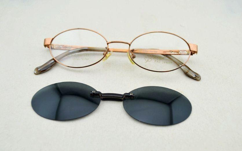 new magic alloy eyeglasses with polarized clip on