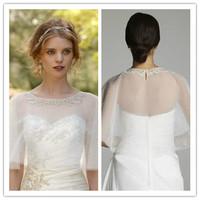 J0050 Real Sample Half Sleeve White Tulle Appliques Bolero Jacket Wrap Wedding Accessory 2014 Free Shipping
