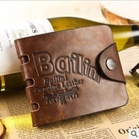 New Style men casual wallet Fashion vintage genuine leather with pu money clip B133