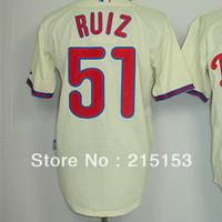 Philadephia Phillies Ruiz Baseball Jerseys Embroidery logos #51 Ruiz Halladay Men Baseball Jerseys Mix Order Free Shipping