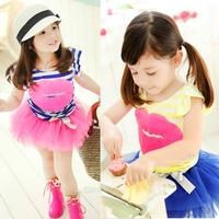 5set Children girl's 2014 child girl sweet red lips stripe short-sleeve T-shirt +tulle short TUTU skirt  2-piece/set tz74