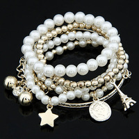 FREE SHIPPING 2014 Trendy Fashion The Major Suit Coins Combined Tower Pearl Bracelet & Bangle For Women Fashion Jewelry