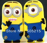 New Hot 3D Despicable Me 2 Cartoon Minions Case for Apple iPod Touch 5 Silicon Rubber minions skin Free DHL/Fedex 300pcs