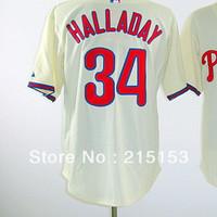 Philadephia Baseball Jerseys Halladay Lee Embroidery logos #34 Roy Halladay Men Baseball Jerseys Mix Order Free Shipping