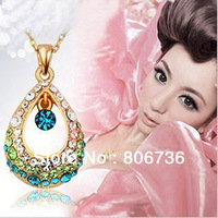 Min Order $15 Free Shipping Fashion Jewelry Fashion Angel's Tear Rainbow Crystal Hollow Water Drop Chain Necklace For Women