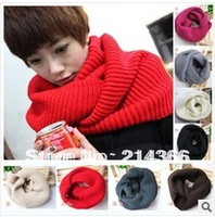 Women Winter Knitted Long Large Wide Circle Wool Blend Cowl Snood Ring Tube Scarf Shawl Warmer Free Shipping