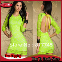 CL-328 Winter Autumn New Fashion 2013 Womens Backless Green Lace Sexy Club Dresses