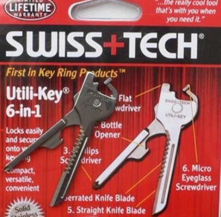 Free Shipping Swiss Tech Tools Utili Key Pocket Knife 6 in 1 Multi Tool Keychain multifunction key chain Survival Knives(China (Mainland))