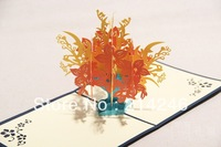 Free shipping  fancy creative business gift   kirigami  &origami pop-up cards 3D greeting cards wholesale