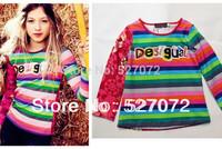 New fashion!2014Spring brand girls t-shirt,designer girls top,European children t-shirt with long sleeve.Kids t-shirt with print