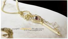 HOT SALE Zinc Alloy Metal Amethyst Love Golden Crown Glod White Silver Key Pendant Long Necklace