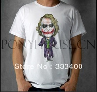 2014 New Free shipping THE Joker clown red lips Batman T-shirt cotton Lycra top short-sleeve men t shirt