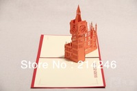 Free shipping  fancy creative business gift  London big ben origami pop-up cards  birthday gift 3D greeting cards wholesale