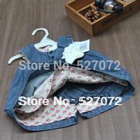 High quality!2014 Summer new designer 100%cotton baby dress with underwear,Italian brand Double denim dress for baby girl