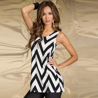 2014 New Style Summer Sexy Ladies Informal Clubwear Sleeveless Sundress O-Neck Black&White Chevron Striped Party Dress