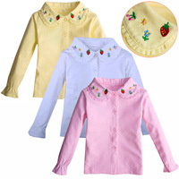 Long sleeve for children girls 2014 new fashion flower printing 100% cotton T-shirts for kids girl turn-down collar basic shirts