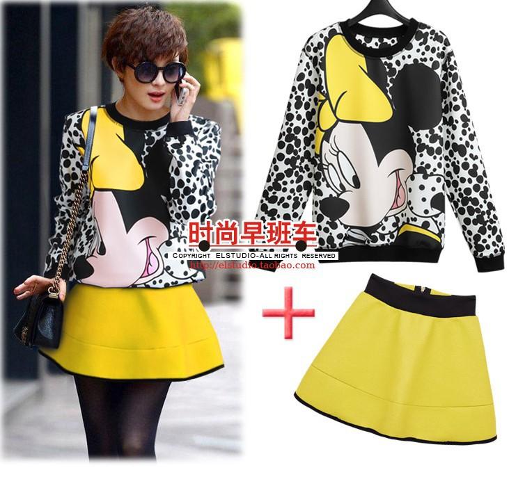 new 2014 spring big Mickey broad-based baseball sweatshirt pullovers hoodies sportswear set Hoodies & Sweatshirts(China (Mainland))