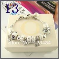 shipping free Charm Chamilia bracelet 925 sterling silver crystal charm bracelet for woman.lovely beads bracelets